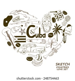 Sketch collection of Cuban symbols. Heart shape concept. Travel background