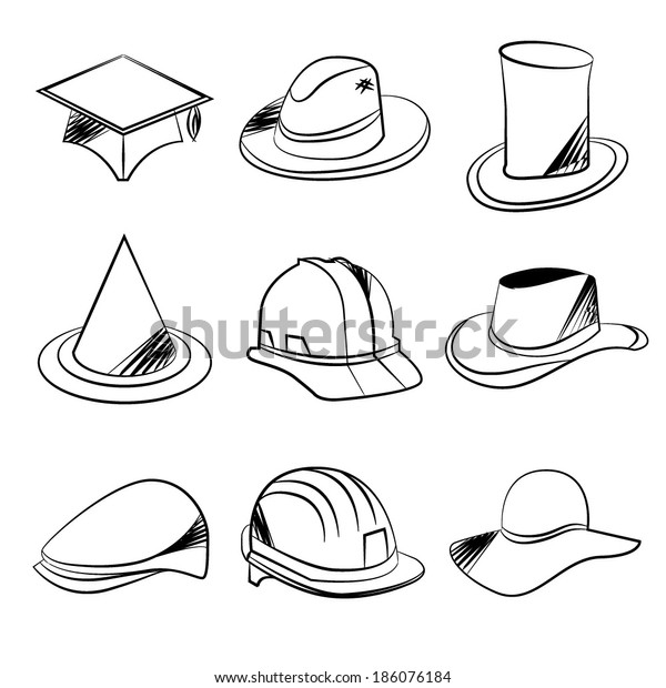 d2d0b9e8 Sketch Collection Hats Stock Vector (Royalty Free) 186076184