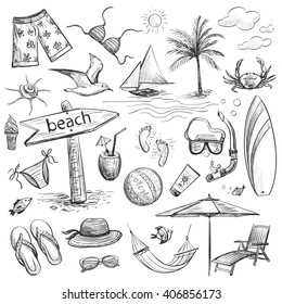 Sketch collection sea vacation. Isolated pictures on a white background