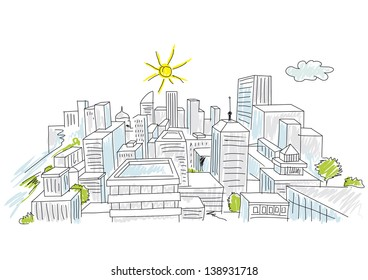 sketch colorful of a city