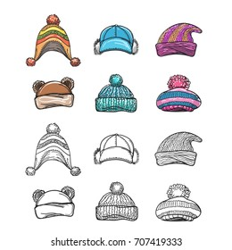 Sketch and colorful winter hat set isolated on white backgroud. Vector illustration