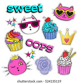 Sketch comics Set of stickers with childish elements hearts, stars, crown, cakes, cartoon cats face with smile, sunglasses. Girlish fashion patch badges.