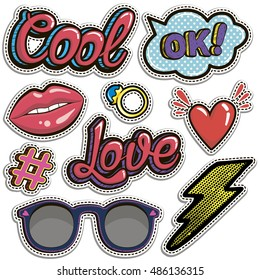 Sketch comics Set of stickers with hearts, speech bubbles, text cool, love, lightning, lips, rings, sunglasses. Girlish fashion elements in bright colors. Comic style. Fashion patch badges