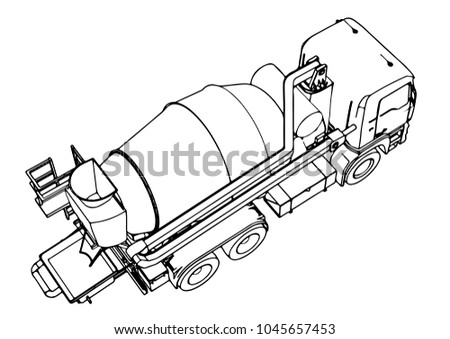 Sketch Concrete Mixer Vector Stock Vector Royalty Free 1045657453