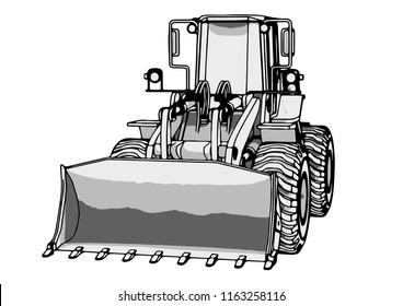 sketch of a construction bulldozer vector