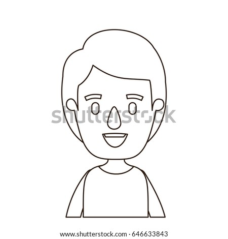 Sketch Contour Half Body Boy Hairstyle Stock Vector Royalty Free