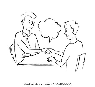 Sketch contract handshake people at the table agreement deal. Two businessman business at work table agreed. Hand drawn vector illustration.