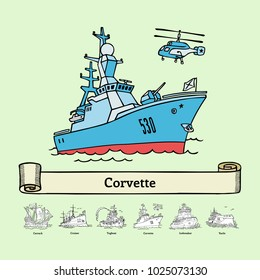 Sketch corvette Steregushchiy vector illustration. Coloring book with doodle ship. Handmade russian warship.