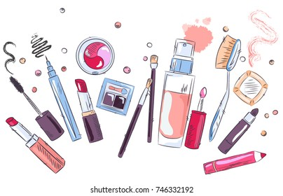 Sketch of cosmetics products, fashion makeup banner. Brushes, powder palettes, lipstick, eye pencil, nail polish realistic vector illustrations set on white background. Cosmetics shop, beauty salon