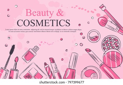 - Sketch of cosmetics products, fashion makeup banner. Brushes, powder palettes, lipstick, eye pencil, nail polish vector illustrations set. Cosmetics shop, beauty salon