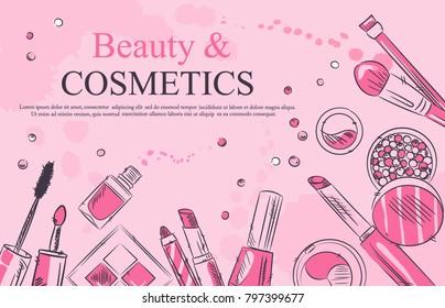 - Sketch of cosmetics products, fashion makeup banner. Brushes, powder palettes, lipstick, eye pencil, nail polish vector illustrations set. Cosmetics shop, beauty salon