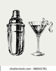 Sketch Cosmopolitan Cocktails and Shaker Vector Hand Drawn Illustration Drinks