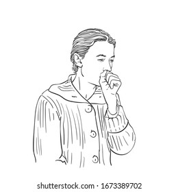Sketch of coughing woman covering her mouth with fist, Hand drawn vector illustration