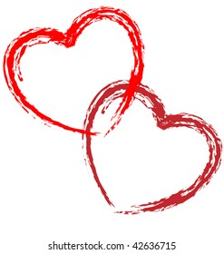 Sketch of couple red outlined vector hearts for wedding, valentine day, romantic love illustration