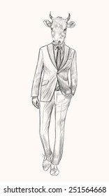 Sketch Cow in Hipster Suit. Businessman style. Hand drawn illustration.