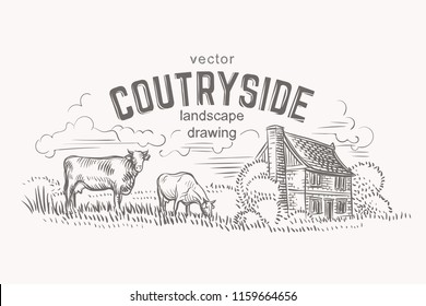 Sketch of cows and farmer house. Hand drawn. Vector.