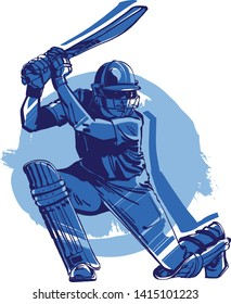 the sketch of a cricket player