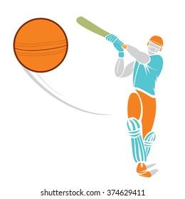 sketch cricket player hit the ball design vector