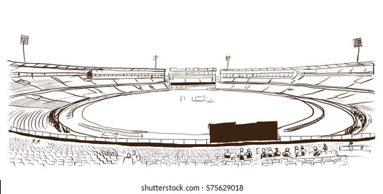 Sketch of cricket stadium in vector.