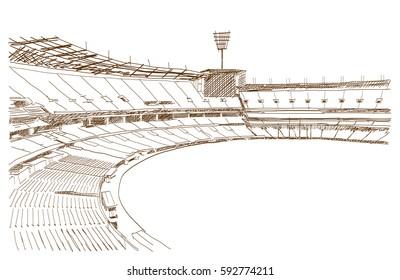 Sketch of Cricket stadium in vector illustration.