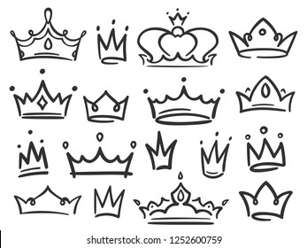 Sketch crown. Simple graffiti crowning, elegant queen or king crowns hand drawn. Royal imperial coronation symbols, monarch majestic jewel tiara isolated icons vector illustration set
