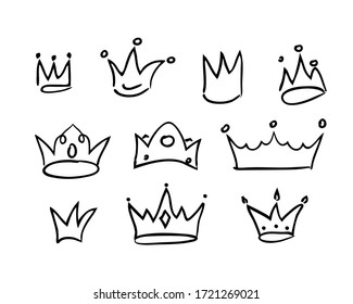 Sketch crown. Simple graffiti crowning on white background. Stock vector