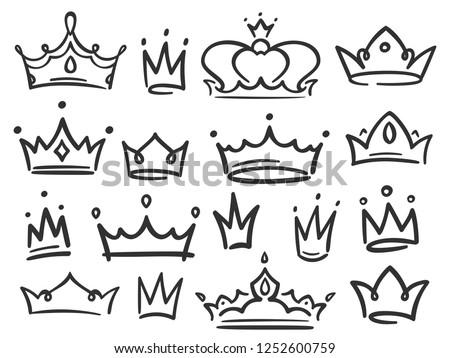 Sketch Crown Simple Graffiti Crowning Elegant Stock Vector Royalty
