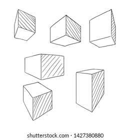 Sketch Cubes and Parallelepipeds. Vector Outline Set. Perspective Drawing of Geometric Shapes.