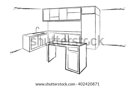 Sketch Cuisine Plan Kitchen Vector Illustration Stock Vector