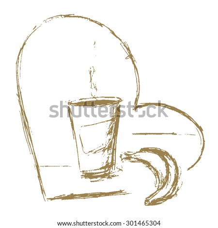 Sketch Cup Coffee Banana Heart Stock Vector Royalty Free 301465304