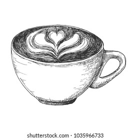 Sketch cup of coffee latte illustration, draft capuccino silhouette drawing, black on white background. Delicious vintage etching food design.