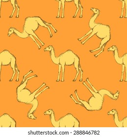 Sketch cute camel in vintage style, vector seamless pattern