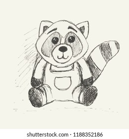 Sketch of cute cartoon raccoon isolated on white background. Funny character animal. Black and white vector illustration.