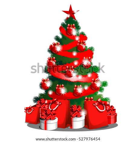 sketch with cute christmas tree with red ribbon bow new year gifts classic christmas