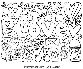 Sketch Cute Elements Black Vector Items Illustration With Hearts And Flowers Bird