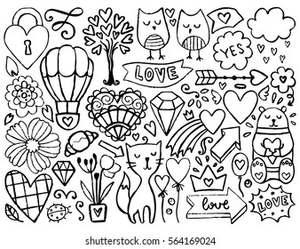 Sketch Cute Elements Black Vector Items Illustration With Hearts And Flowers Animals