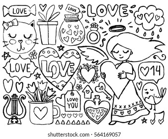 Sketch Cute Elements Black Vector Items Illustration With Hearts And Flowers Cat