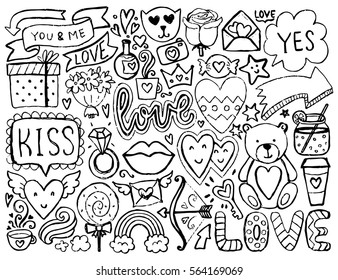 Sketch cute elements. Black vector items. Illustration with hearts and flowers, animals and tea, cloud and stars. Design for prints, cards and coloring page. Valentine's day theme.