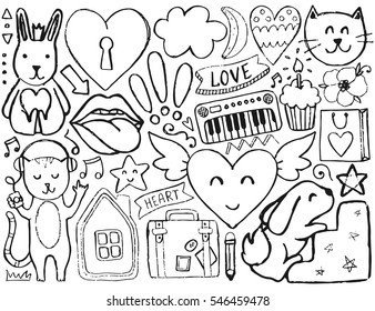 Sketch Cute Elements Vector Coloring Page Illustration With Hearts And Flowers Animals