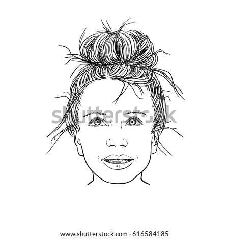 sketch cute girl bun hairstyle hand stock vector royalty free
