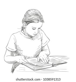 Sketch of cute girl reading book, Hand drawn vector illustration