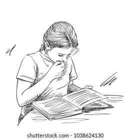 Sketch of cute girl reading book in thoughtfulness touches her lips with her hand, Hand drawn vector illustration