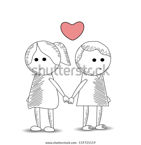Sketch Cute Kids Couple Holding Hands Stock Vector Royalty