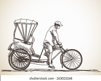 Sketch of cycle rickshaw