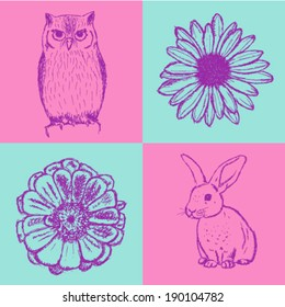 Sketch daisy, zinnia, rabbit and owl, vector vintage seamless pattern