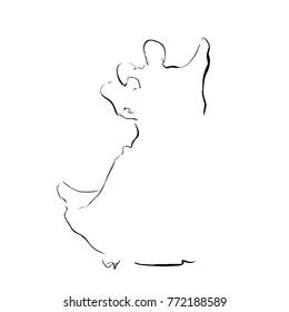 Sketch of dancing couple. Ballroom. Waltz. Line vector.