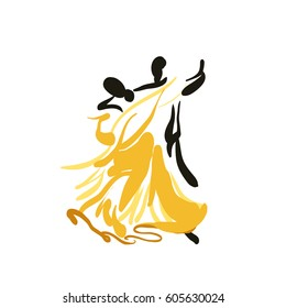 Sketch of a dancing couple isolated on white. Classic dance. Waltz. Vector.