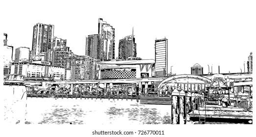 Sketch of Darling Harbour Sydney Australia in vector illustration.