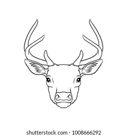 Sketch of deers head, portrait of forest animal black and white hand drawn vector Illustration