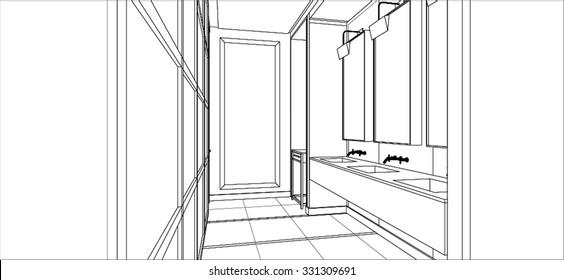 sketch design of bathroom room interior ,vector
